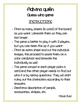 Adivina quien game - Guess who? the game Spanish