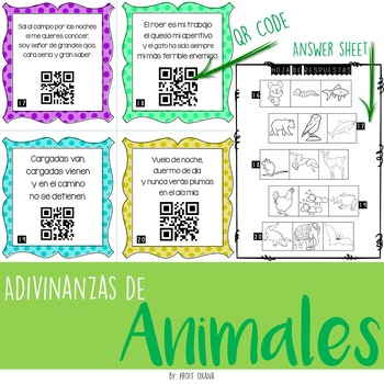SPANISH Adivinanzas de ANIMALES- QR Codes Riddles Task Cards