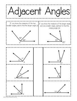 Adjacent Angles Interactive Notebook Activity & Quick Check TEKS 4.7E
