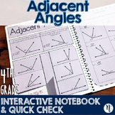 Adjacent Angles Interactive Notebook Activity & Quick Chec