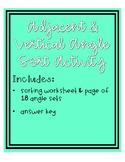 Adjacent and Vertical Angle Sort Activity