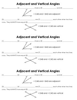 Adjacent and Vertical Angles Guided Notes