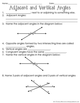 Adjacent And Vertical Angles Notes By To The Square Inch