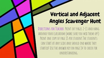 Adjacent and Vertical Angles Scavenger Hunt (with Emojis!)