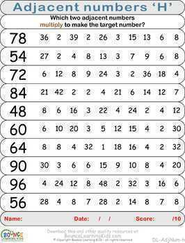 Adjacent numbers (10 Numeracy sheets)