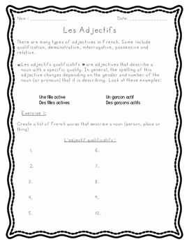 Adjectif Qualificatif French Package