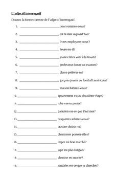 Adjectifs interrogatifs (Interrogative adjectives in French) worksheet