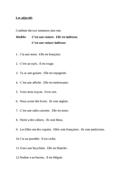Adjectifs (French adjectives) position after the noun worksheet