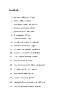 Adjectifs (French adjectives) subject substitution worksheet
