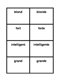 Adjectifs Masculine and Feminine Forms French Concentration Games