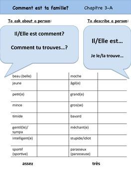 Adjectifs Vocabulary Organizer (Comment est ta famille?) B