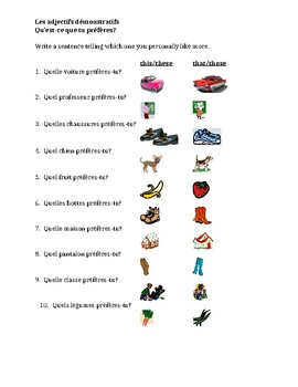 Adjectifs démonstratifs (Demonstratives in French) worksheet