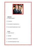 Adjectifs, description des célébrités, worksheet on adjectives in French