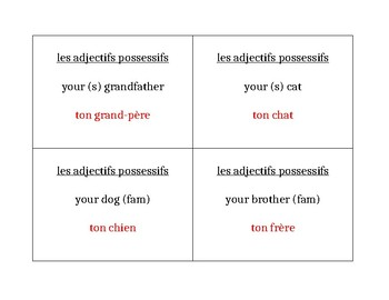 Adjectifs possessifs (Possessive adjectives) Question Question Pass activity