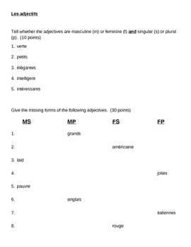 Adjectifs (French adjectives) quiz 2