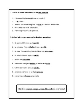 Adjectifs, verbes avoir et être, adjectives worksheet in French