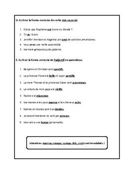 Adjectifs, verbes avoir et être, adjectives worksheet in French