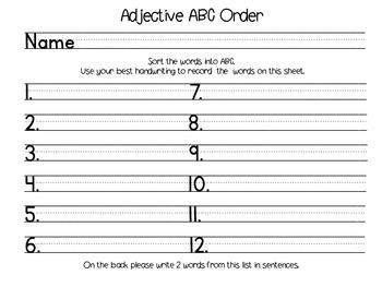Adjective ABC Order
