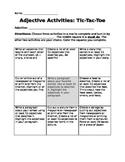Adjective Activities - Tic-Tac-Toe