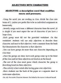 Adjective Activity with Class Novel