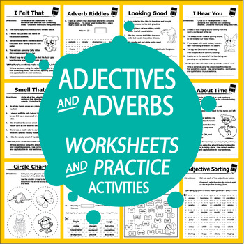 Adjective & Adverb Worksheets (14 Worksheets and Adjective & Adverb ...