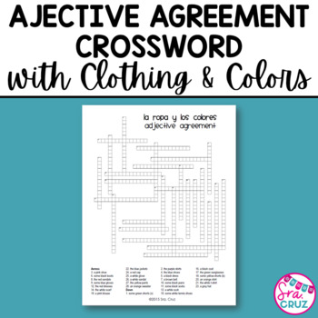 Adjective Agreement Crossword Clothing And Colors By Sra Cruz Tpt