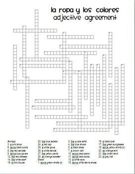 Adjective Agreement Crossword:  Clothing and Colors