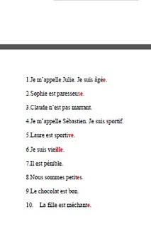 Adjective Agreement Dictee / Dictation: Bien Dit 1, Chapter 3