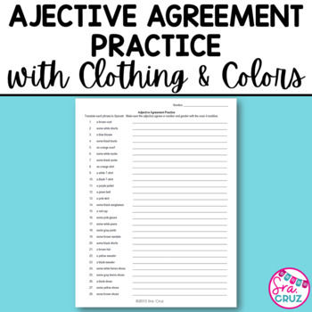 Adjective Agreement Worksheet:  Clothing and Colors