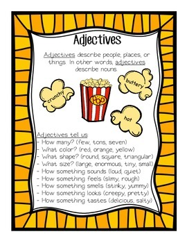 Adjective Anchor Chart and Interactive Notebook Pages