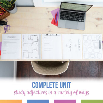 Adjective Bundle: presentation, task cards, worksheets, one-pager