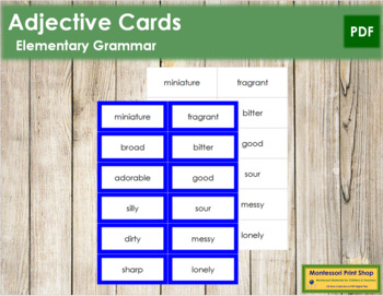 Adjective Cards - Montessori Grammar