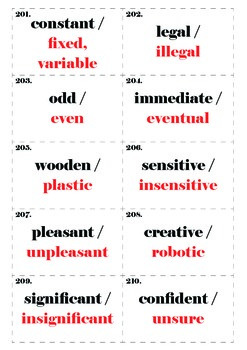 Adjective Cards: Set Two, 201-400