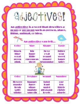 Adjective Charts and Sort