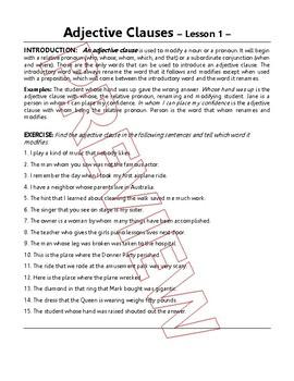 Adjective Clauses & Relative Pronouns | 5 Grammar Lessons | Gr 7 - 8 ELA