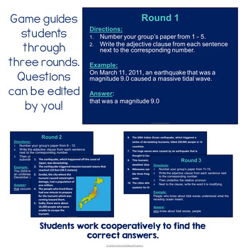 Relative (Adjective) Clauses Trashketball Review Game