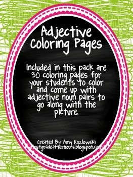 Adjective Coloring Pages