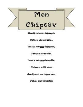 Adjective Comptine: Mon Chapeau. Bien Dit 1, Chapter 3