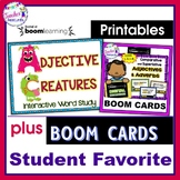 BOOM CARDS ADJECTIVES plus CREATING ADJECTIVE CREATURES Printable Activity