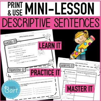 adjective descriptive writing worksheet by mrs bart tpt. Black Bedroom Furniture Sets. Home Design Ideas