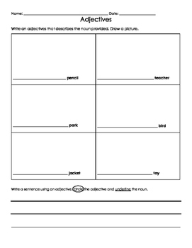 Adjective Drawings Activity