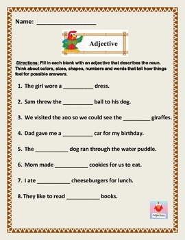 Adjective Fill-In-The-Blank Worksheet.  5 page of 8 sentences. Common Core.