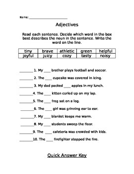 Adjective Fill in the Blank