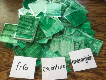 "Adjective (GREEN) Cards for Spanish ""Apples to Apples"" Game"