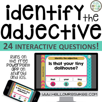 Adjective Game ~ Interactive PPT game with 24 questions, grades 2-4