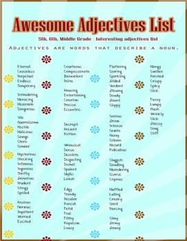 Adjective List
