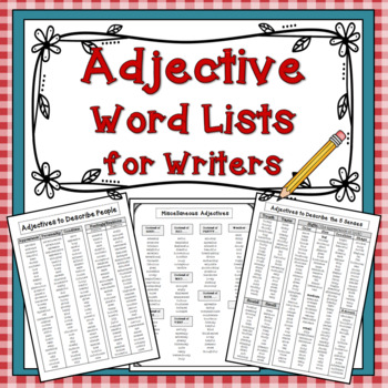 Adjective Lists for Writers