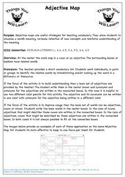 Adjective Map Graphic Organizer Set