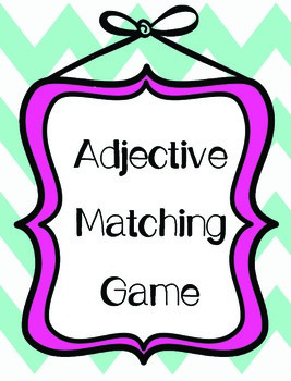 Adjective Matching File Folder Game with QR Codes