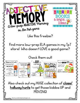 Adjective Memory Game- FREEBIE!